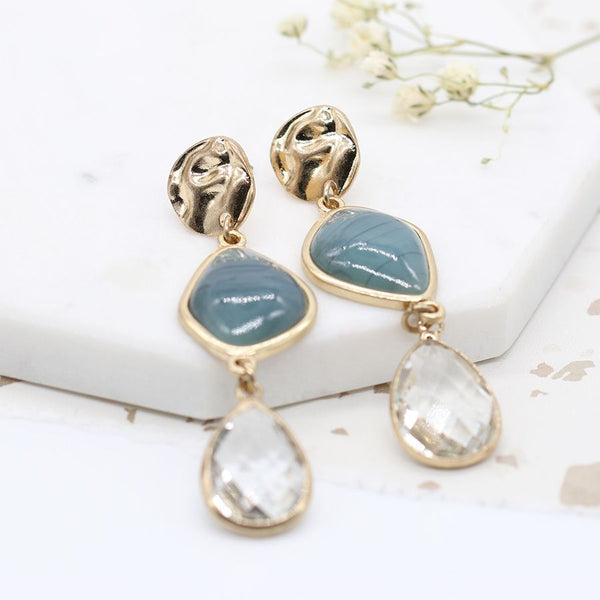 Peace of Mind Gold plated mixed stone and crystal drop earrings