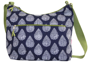 Lua Large Slouch Bag - Blue & White Leaf Print