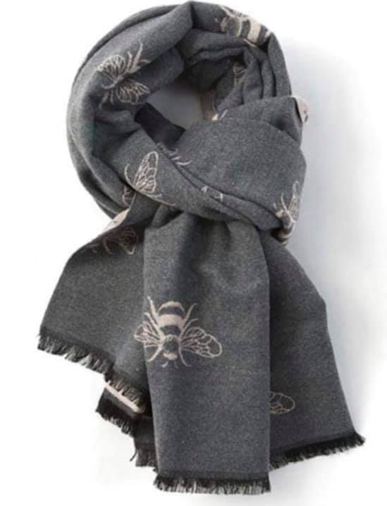 Bee Reversible Winter Scarf - Grey