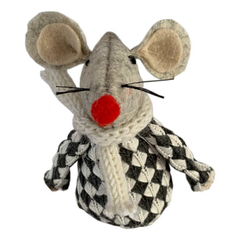 Sitting Checked Coat Christmas Mouse Decoration
