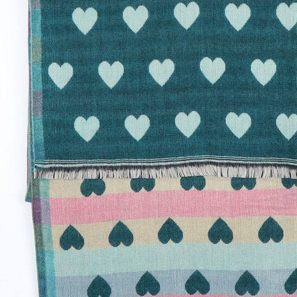 Hearts Reversible Scarf - Teal or Denim Blue
