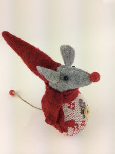 Christmas Mrs Mouse in Fairisle Jumper Decoration