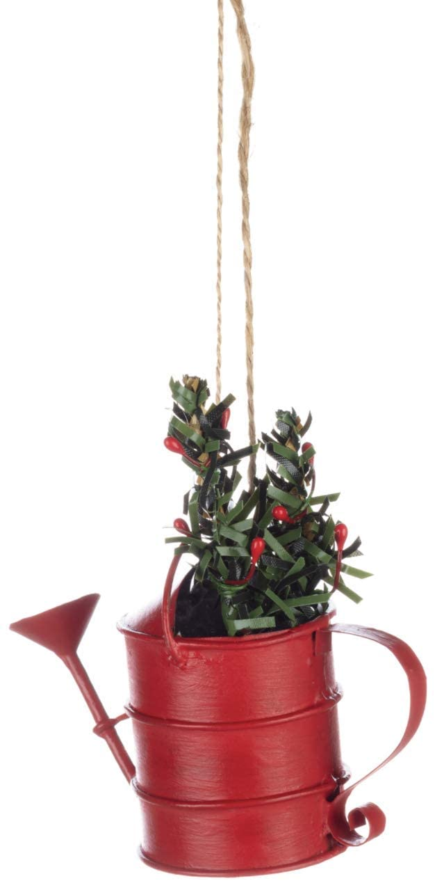 Shoeless Joe - Christmas Red Watering Can Hanging Decoration