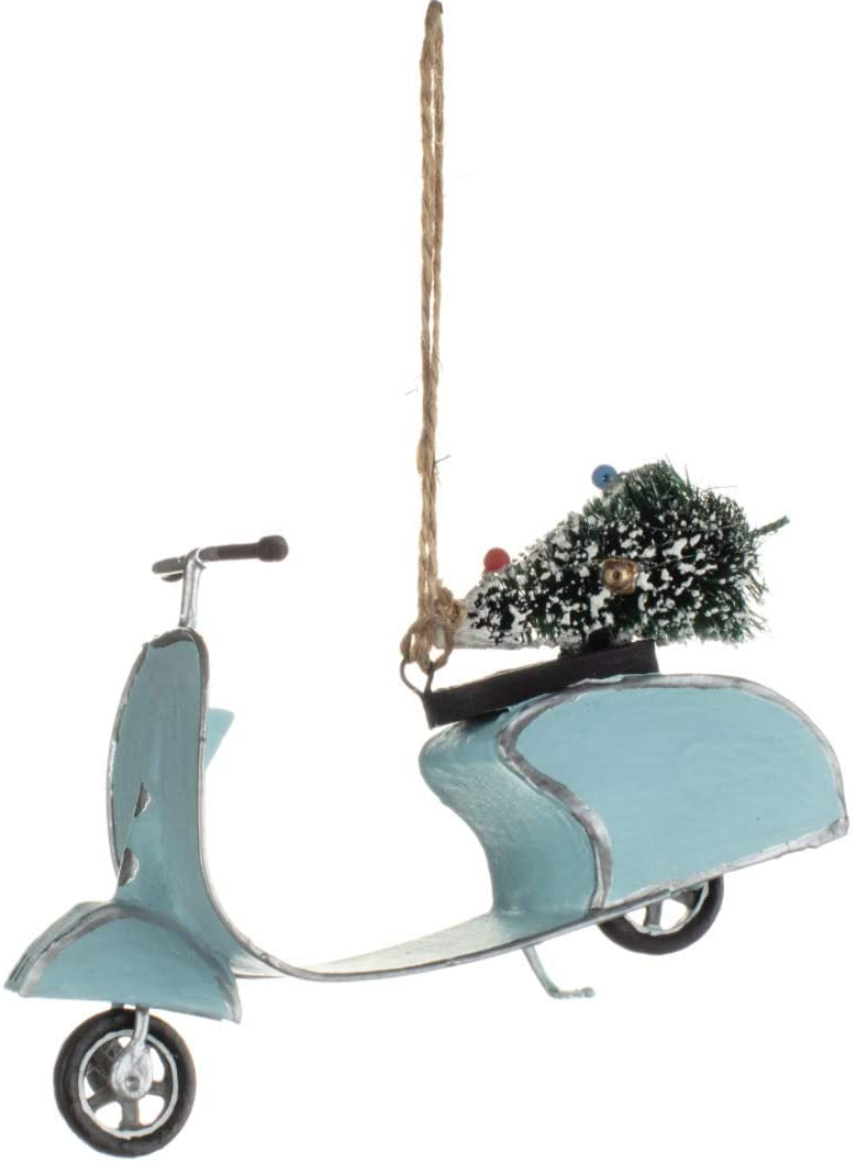 Shoeless Joe - Christmas Mint Retro Scooter with Tree Hanger