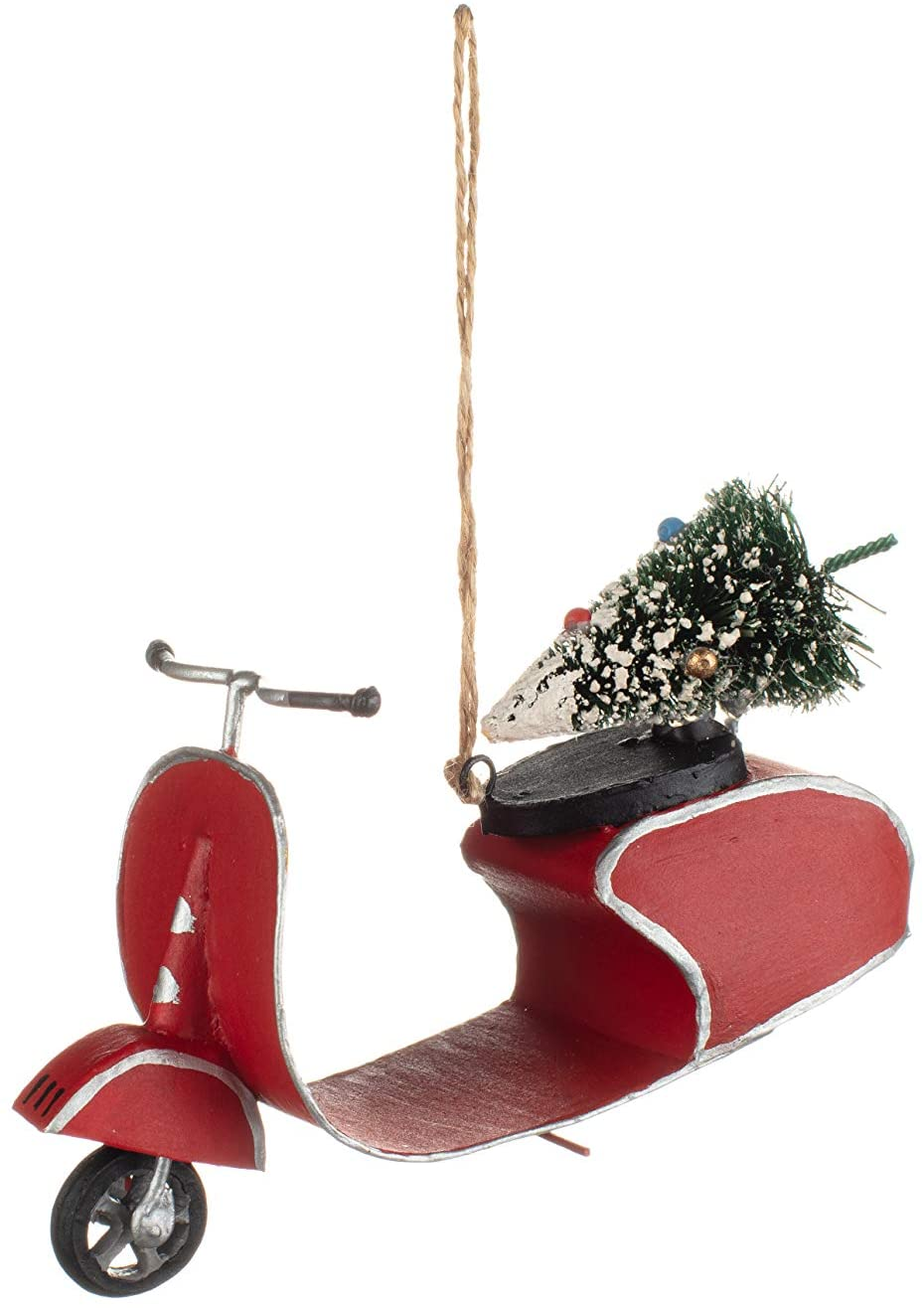 Shoeless Joe - Christmas Red Retro Scooter with Tree Hanger