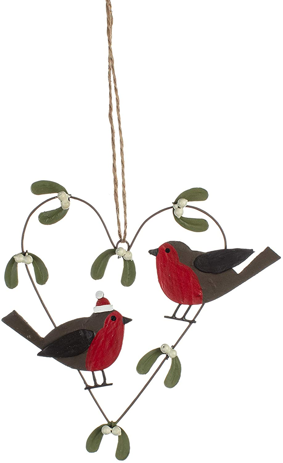 Shoeless Joe - Christmas Robin & Mistletoe Heart Hanger