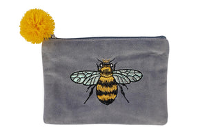 Velvet Embroidered Bee Coin Purse