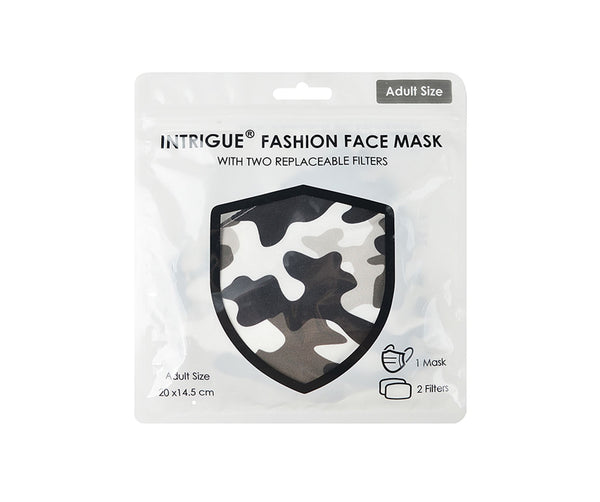Adult Face Mask - Monochrome Camouflage with filter pocket & 2 filters