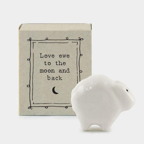 "East of India Matchbox Animal - ""Love Ewe to The Moon and Back"""