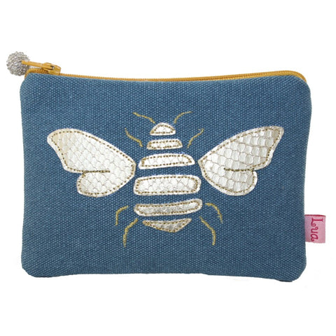 Gold Bee Coin Purse - Petrol Blue
