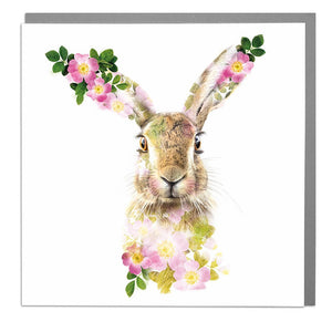 Lola Design Greetings Card - Hare with Pink Flowers