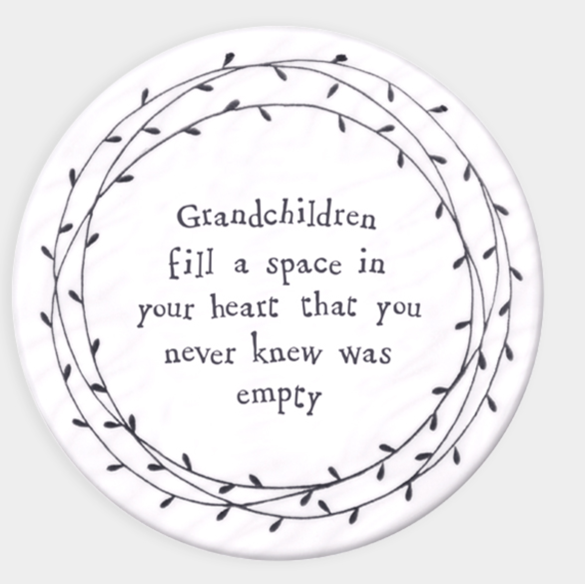 East of India Porcelain Coaster - Grandchildren fill a space in your heart.....