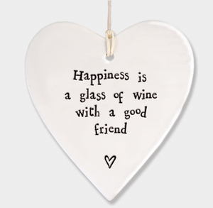 East of India Porcelain Hanging Heart - Happiness is a glass of wine....