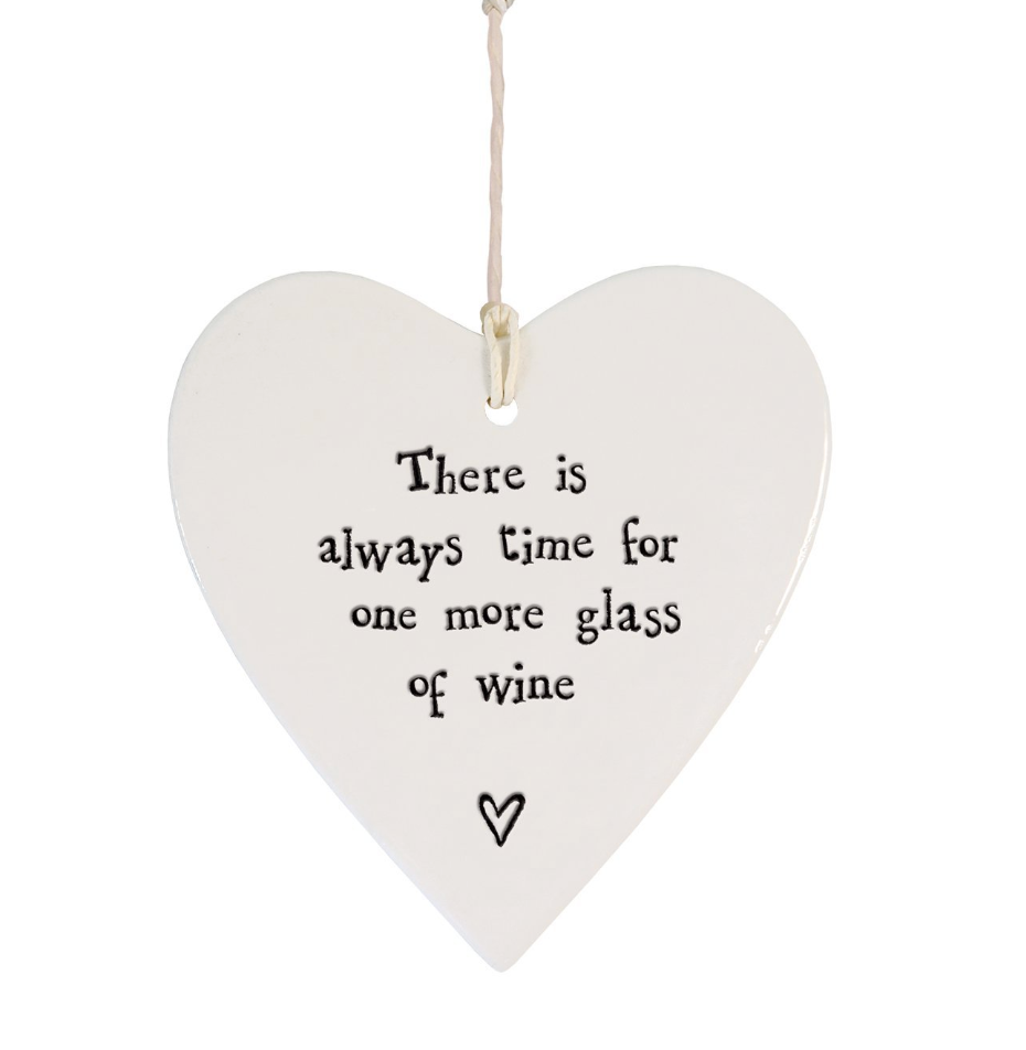 East of India Porcelain Hanging Heart - There is always time for one more glass of wine....