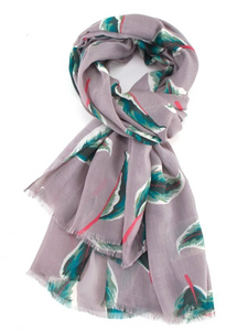 Tropical Leaves Scarf - Grey