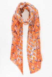 Orange Droplet Print Scarf