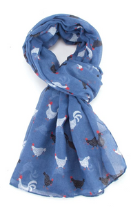 Rooster Scarf - Blue