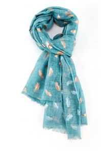 Rose Gold Feathers Scarf - Aqua