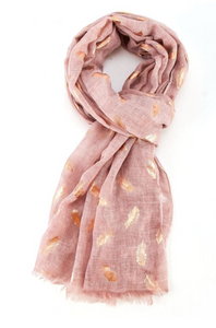 Rose Gold Feathers Scarf - Blush Pink