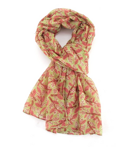 Leafy Branches Scarf - Green