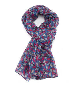 Leafy Branches Scarf - Blue