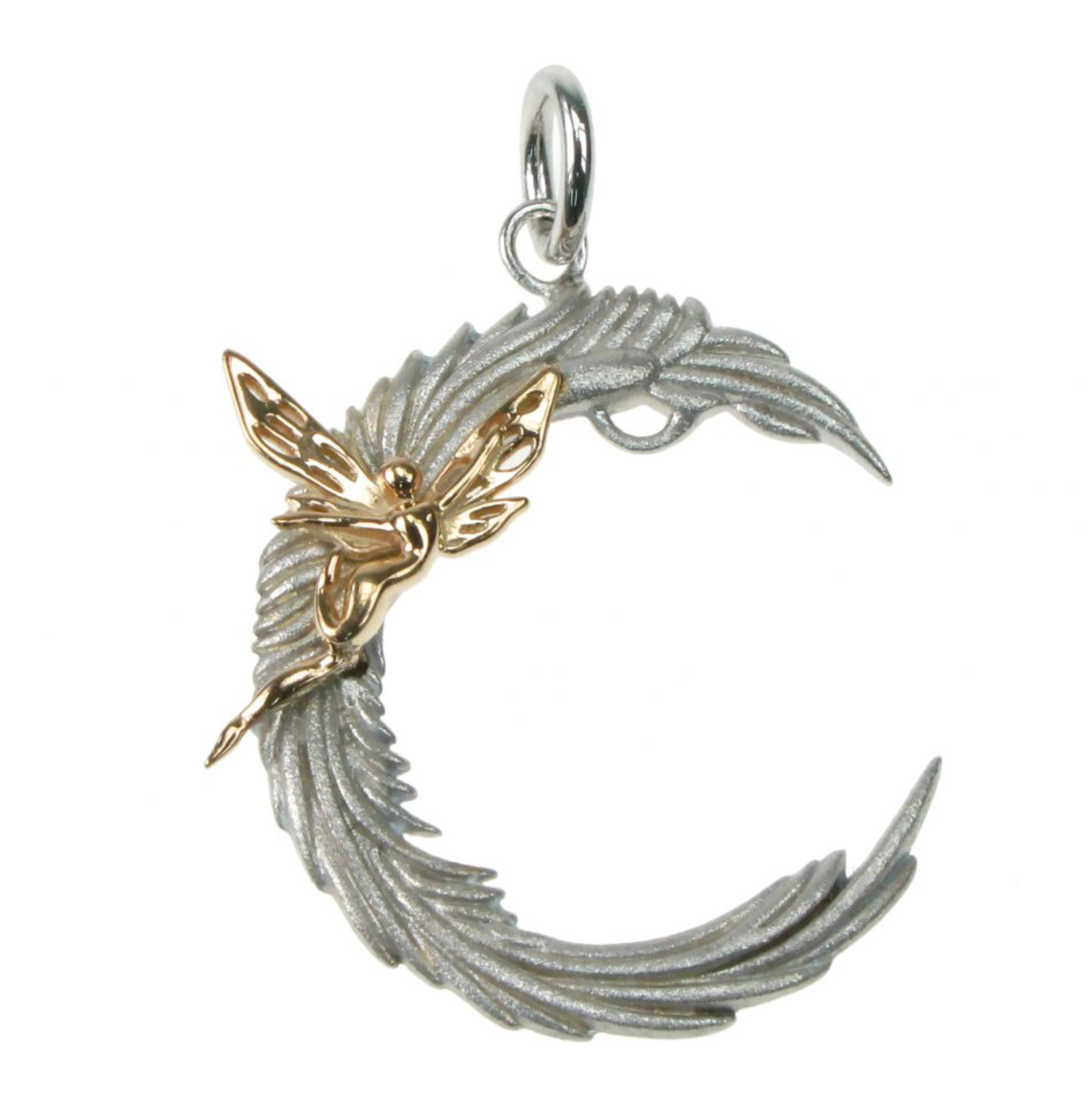 Fairy Sitting on Moon Pendant Sterling Silver & Rose Gold