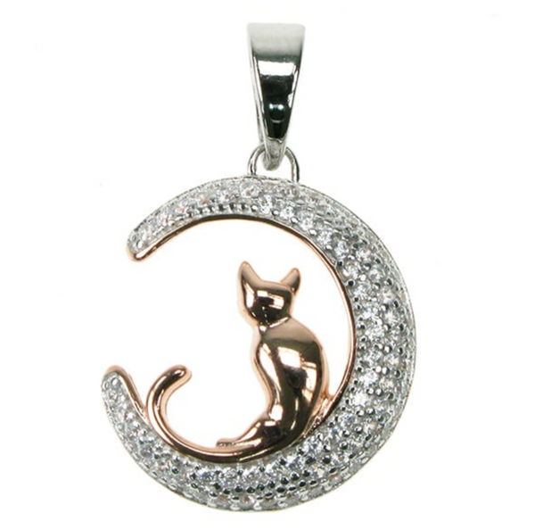 Cat Sitting On Crescent Moon Crystal Cubic Zirconia Rose Gold Plate