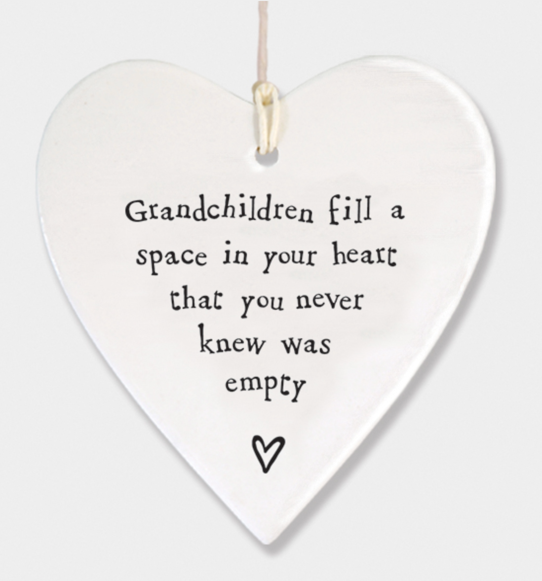 East of India Porcelain Hanging Heart - Grandchildren fill a space in your heart....
