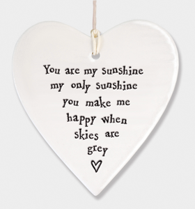 East of India Porcelain Hanging Heart - You Are My Sunshine....