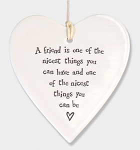 East of India Porcelain Hanging Heart - A Friend is one of the nicest....