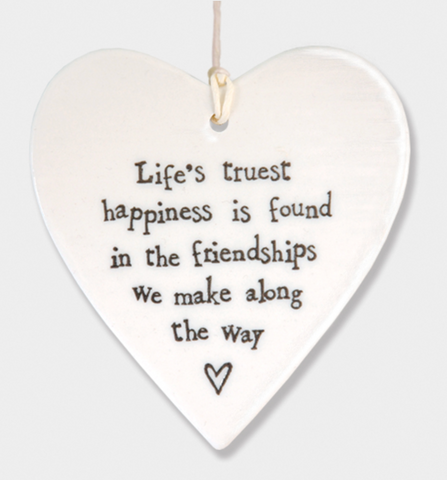 East of India Porcelain Hanging Heart - Life's truest happiness....