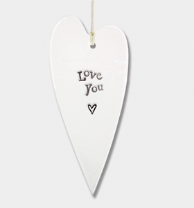 East of India Porcelain Long Hanging Heart - Love You.....