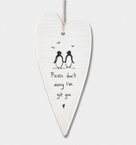 East of India Porcelain Long Hanging Heart - Please don't worry....