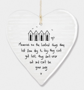East of India Porcelain Hanging Heart - Memories are the loveliest things....