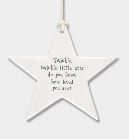 East of India Porcelain Hanging Star - Twinkle, twinkle little star.....