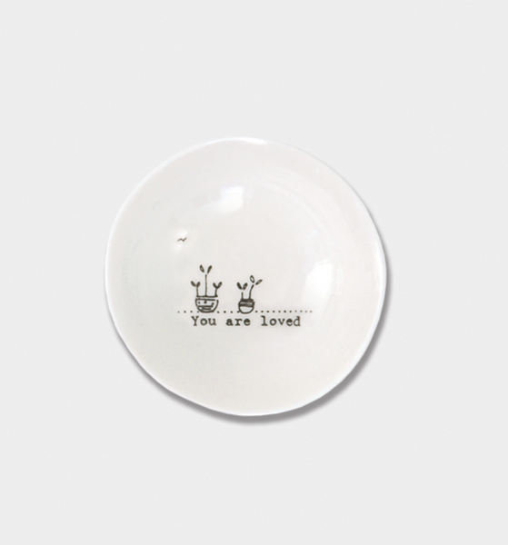 "East of India Porcelain Wobbly Bowl - Small ""You are loved"""