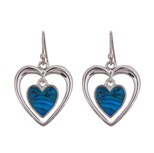 Byzantium Paua Shell Heart Earrings
