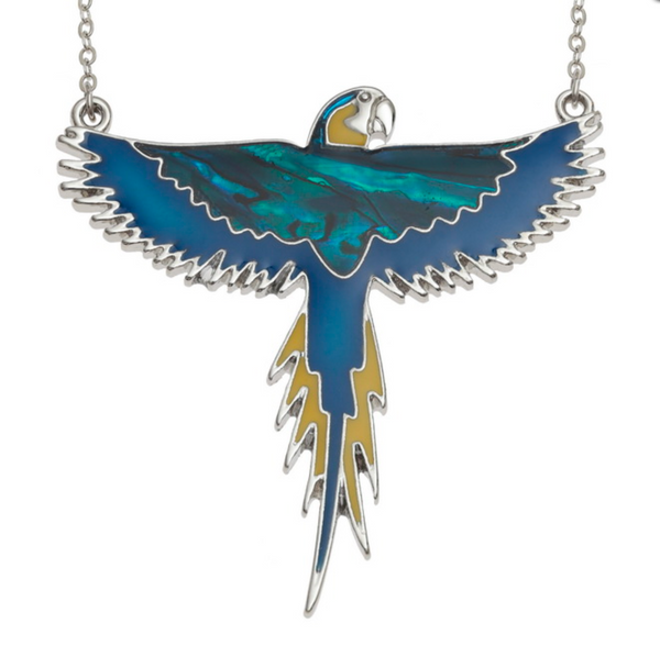 Blue & Yellow Flying Macaw Necklace