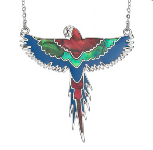 Red, Blue & Green Flying Macaw Necklace