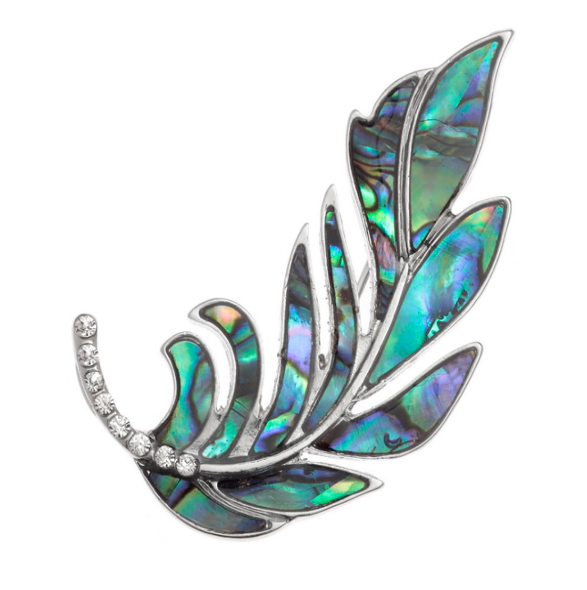 Paua Shell Feather Brooch