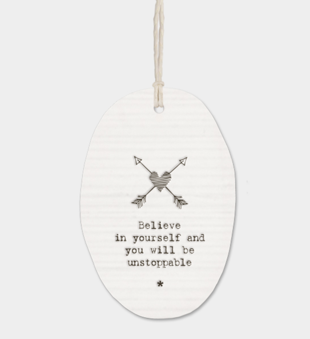 "East of India Porcelain Oval Message Hanger - ""Believe in yourself..."""