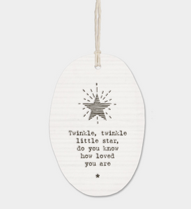 "East of India Porcelain Oval Message Hanger - ""Twinkle twinkle little star..."""