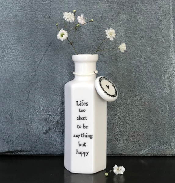 "East of India Hexagonal Porcelain Bottle- ""Life's too short..."""