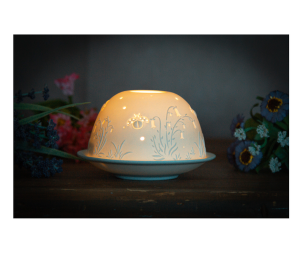 Light-Glow Bell Flowers and Ladybird Tealight Candle Holder