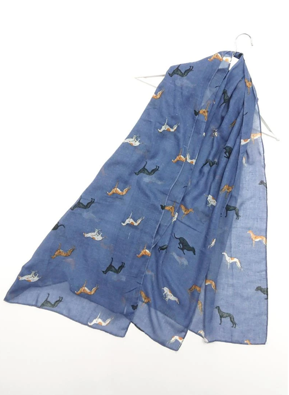 Greyhound Dog Scarf - Denim Blue