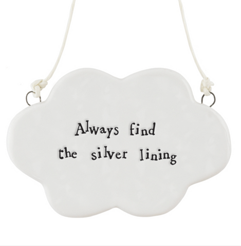 "East of India Porcelain Hanging Cloud - ""Always find the silver lining"""