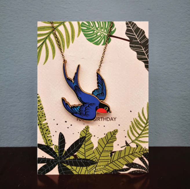 Greetings Card & Wooden Necklace - Swallow