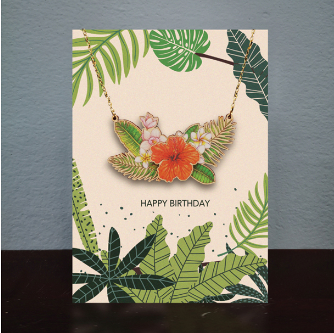 Greetings Card & Wooden Necklace - Flower