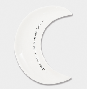 "East of India Porcelain Wobbly Moon Dish - ""Love you to the moon and back"""