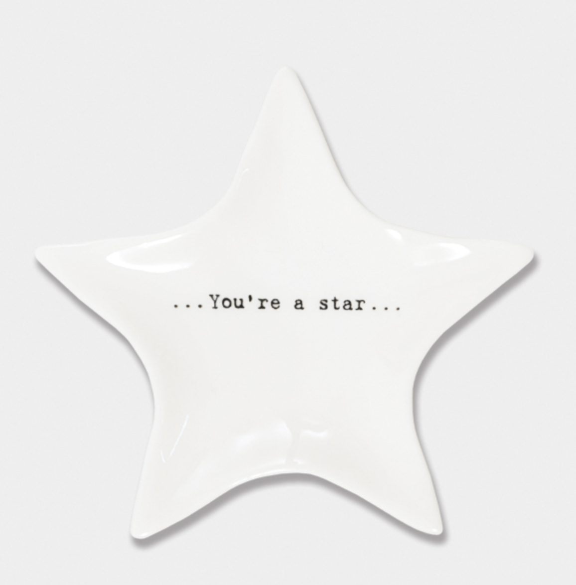 "East of India Porcelain Wobbly Star Dish - ""You're a star"""